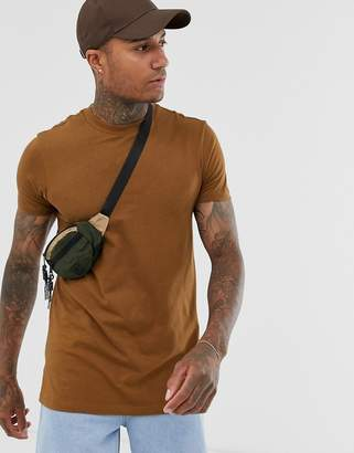 Asos Design DESIGN longline t-shirt with crew neck and side splits in brown