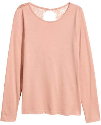 H&M Jersey Top with Lace - Orange