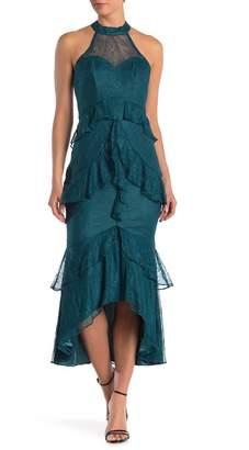 Lumier Molly Lace Ruffle Hi-Lo Midi Dress
