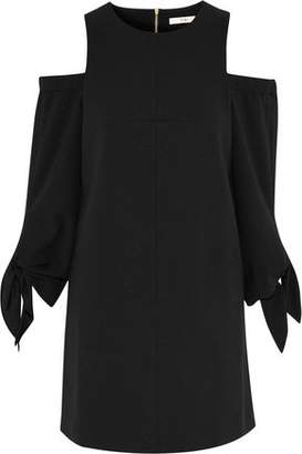 Tibi Cold-Shoulder Crepe Mini Dress