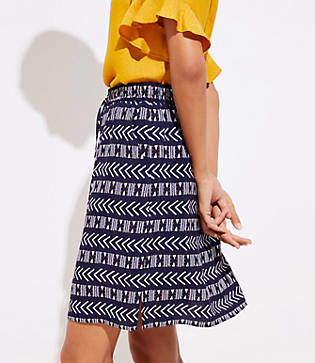 LOFT Tall Geo Stripe Pocket Drawstring Skirt