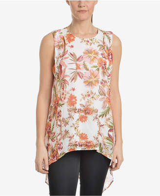NY Collection Printed Cutout Flyaway Tunic