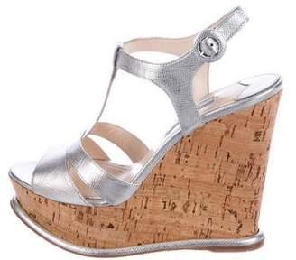 Prada Saffiano Lame Wedge Sandals