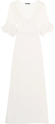Vix Pointelle-trimmed crinkled-cotton maxi dress $186 thestylecure.com