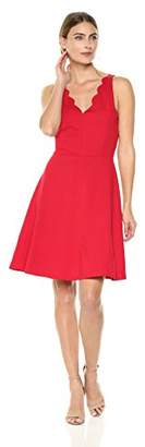 Lark & Ro Women's Scalloped Ponte Fit and Flare Dress