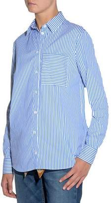 Eleventy Striped Poplin Classic Blouse