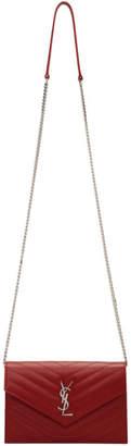 Saint Laurent Red Envelope Chain Wallet Shoulder Bag
