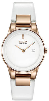 Citizen Eco-Drive Axiom Rose Goldtone Leather Strap Watch
