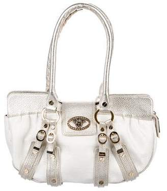 Versace Metallic Leather-Trimmed Shoulder Bag
