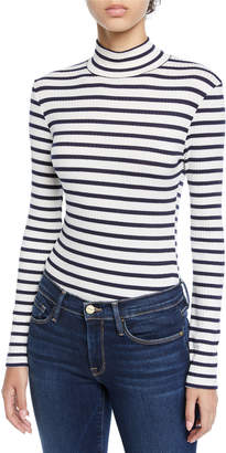 Frame Striped Long-Sleeve Turtleneck Top