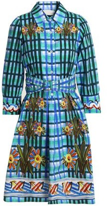 Peter Pilotto Belted Printed Cotton-Poplin Shirt Dress