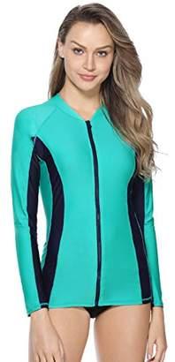 Marina Threads Women's Zipper Rash Guard Long Sleeve Swim Shirt