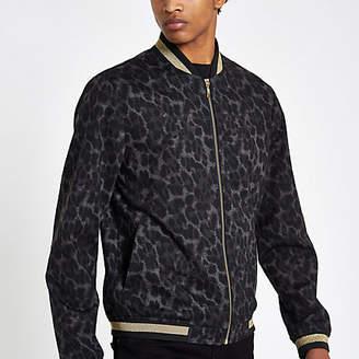 River Island Black leopard print skinny fit bomber jacket