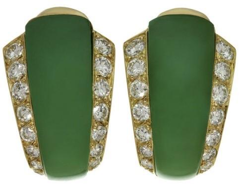 Van Cleef & ArpelsVan Cleef & Arpels 18K Yellow Gold Diamond Green Chrysoprase Earrings