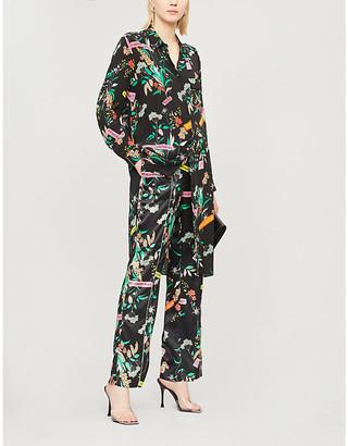 Pinko Alicia floral print silk shirt dress