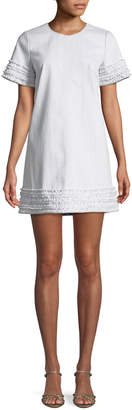 Cinq à Sept Ashton Crewneck Short-Sleeve Cotton Shift Dress w/ Frayed Trim
