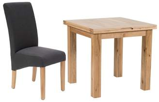 Willis & Gambier Oak 'Normandy' Flip-Top Table And 4 Grey 'Fletton' Chairs