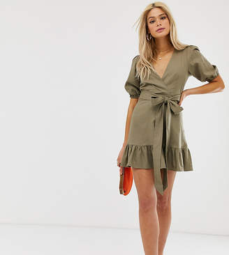Asos Tall DESIGN Tall wrap mini dress with tie front