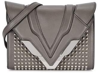 Elena Ghisellini Felina Grey Studded Leather Clutch