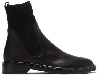 The Row Fara Cashmere Insert Leather Boots - Womens - Black