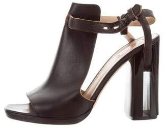 Reed Krakoff Leather Peep-Toe Booties