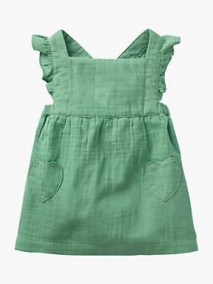 Boden Mini Baby Ruffle Pinafore Dress, Patina Green