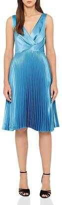 Reiss Alicia Pleated Satin Dress