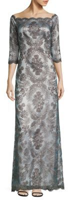 Tadashi Shoji Scalloped Floral Lace Gown $595 thestylecure.com