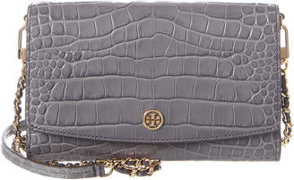 Tory Burch Robinson Croc-Embossed Leather Chain Wallet