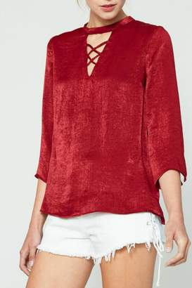 Hayden Los Angeles Draped Satin Blouse