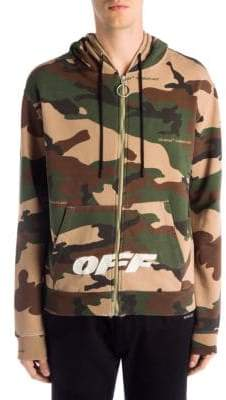 Off-White Camouflage Hooded Cotton Jacket