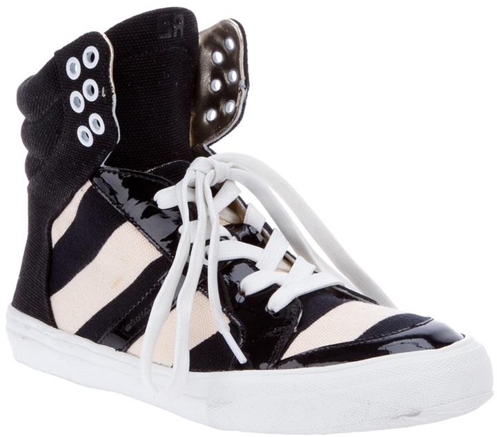Sonia Rykiel Striped High Top tennis shoe