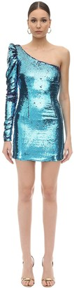 Amen Asymmetrical Sequined Mini Dress
