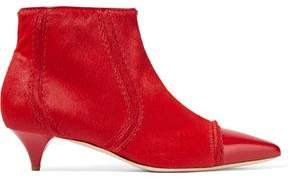 Moschino Patent Leather-Trimmed Calf Hair Ankle Boots