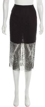 Wes Gordon Guipure Lace Midi Skirt