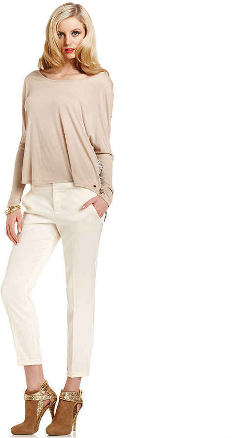 GUESS Pants, Trisha Cropped Cuffed Trousers