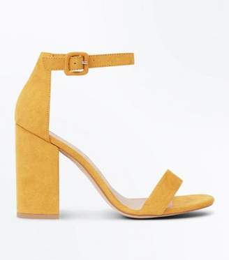 New Look Mustard Suedette Barely There Block Heels