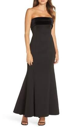 Eliza J Strapless Satin Back Crepe Trumpet Gown