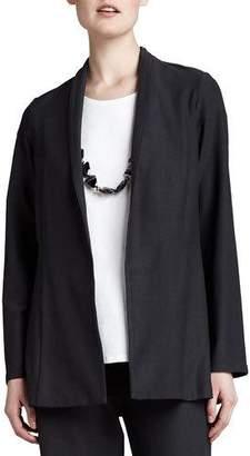 Eileen Fisher Long Washable Crepe Shawl-Collar Jacket, Plus Size