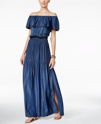 INC International Concepts Off-The-Shoulder Denim Maxi Dress, Only at Macy's $119.50 thestylecure.com