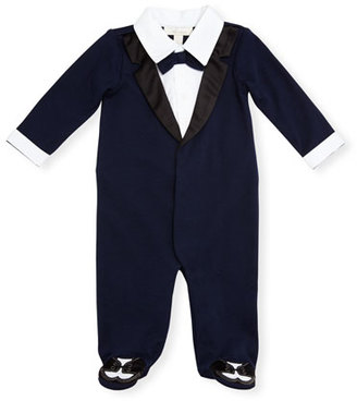 Miniclasix Footed Cotton Jersey Tuxedo Coverall, Navy, Size 3-9 Months $55 thestylecure.com