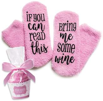 Okaeienen Women Funny Socks If You Can Read This Bring Me Some Wine Socks Gifts for Women