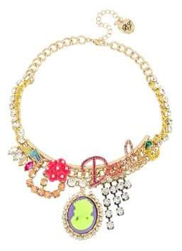 Betsey Johnson Granny Chic Crystal Darlin Charm Necklace