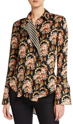 Oscar de la Renta Floral Asymmetric Button-Front Blouse
