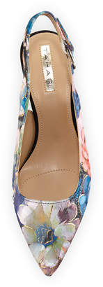 Elie Tahari Saint Floral Kitten-Heel Slingback Pumps