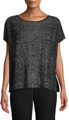 Eileen Fisher Sleek Tencel Printed Short-Sleeve Sweater, Petite