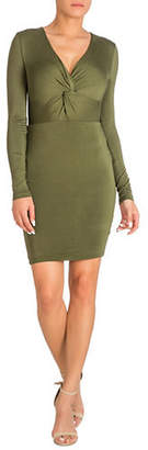 GUESS Samantha Knot Front Long Sleeve Bodycon Dress