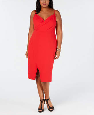 Betsey Johnson Plus Size Faux-Wrap Midi Dress