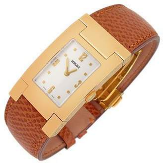 Versace On Fifth - Men's Gold Plated Brown Leather Watch