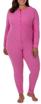 Fruit of the Loom Fit for Me by Women's and Women's Plus Size Waffle Thermal Underwear Union Suit
